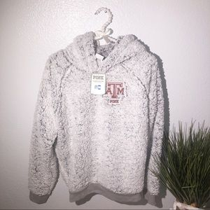 NWT VS PINK  Texas Pull Over Sherpa Hoodie M